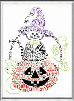 Lets Get Spooky - Cats cross stitch pattern designed by Ursula Michael. Category: Words.