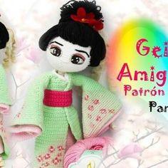 Muñeca a crochet o amigurumi Geisha Crochet Dolls Free Patterns, Doll Patterns, Crochet Toys, Geisha Kunst, Geisha Tattoos, Patron Crochet, Amigurumi Tutorial, New Dolls, Pretty Dolls