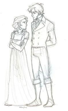 First Impressions by burdge-bug.deviantart.com  Elizabeth Bennet and Mr. Darcy