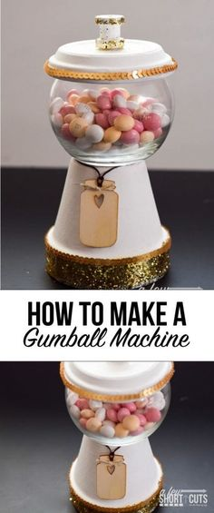 A fun simple craft that turns into a yummy decor item! Learn how to make a gumball machine candy dish! (How To Make Christmas Planters) Flower Pot Crafts, Clay Pot Crafts, Easy Crafts, Flower Pots, Acorn Crafts, Tree Crafts, Candy Jars, Candy Dishes, Glass Candy