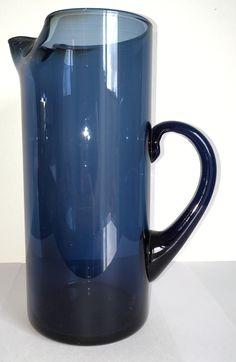 Caithness Glass Stroma cylinder jug in Twilight Blue Caithness Glass, Blue Design, Twilight, Mugs, Tableware, Dinnerware, Tumblers, Tablewares, Mug
