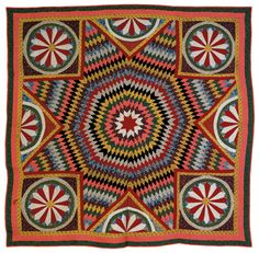 """Pieced lone star quilt, ca. 1900, with mariner's star corners, 87"""" x 86""""."""