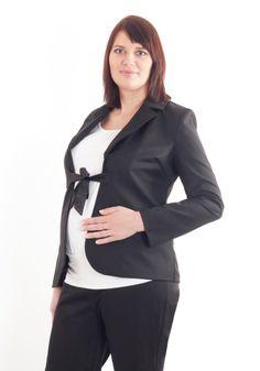 Maternity black blazer with a bow