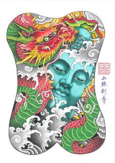 Japanese Tattoo Designs, Japanese Tattoo Art, Japanese Art, One Piece Japan, Bio Organic Tattoo, Khmer Tattoo, Buddha Tattoo Design, Back Piece Tattoo, Japanese Dragon Tattoos