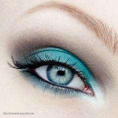 turquoise and brown eyeshadow #turquoise