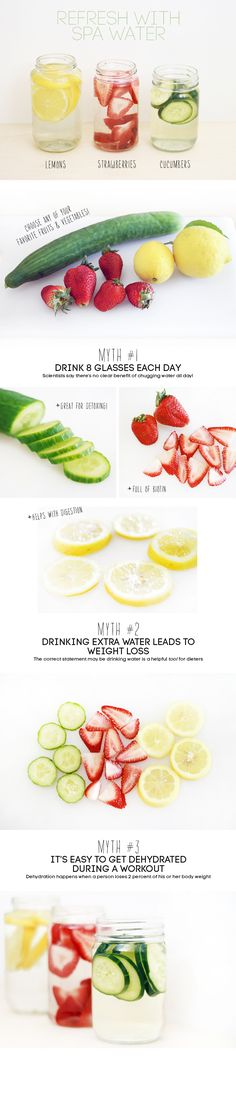 I love these detox water! Plus you could add mint for a more refreshing drink! Detox Drinks, Healthy Drinks, Healthy Tips, Healthy Choices, How To Stay Healthy, Healthy Snacks, Healthy Recipes, Infused Water Recipes, Fruit Infused Water