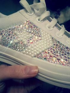 Swarovski bedazzled converse for reception shoes  Shawna Sharp reception  shoe I could totally make these 313afba1f