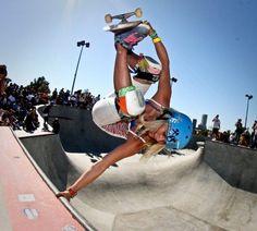 The Awesome Lyn-Z Julz Lynn skateboarding Handplant