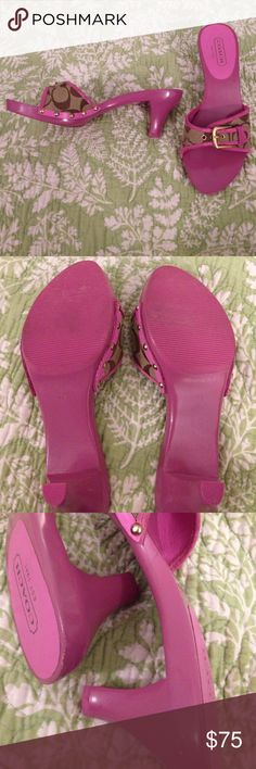 NEVER WORN! Coach shoes PINK! Size 7.5 Pink Coach Joyce heels from the 1990s.  They were an impulse buy that I never wore.  The sole is made of wood (which is actually comfy) with a rubber bottom for anti-slip. These have never been worn out, but they do show minimal wear from me trying them on all the time trying to decide if I want to keep them. Minimal defects include several small paint ships, and turning of gold fastens (not buckles). Request more pics if needed. Suede, size stamp, and…