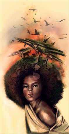 natural hair art | Natural Hair (Art) | Afro woman