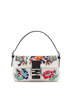 Baguette Floral Needlepoint Bag by Fendi at Bergdorf Goodman. Fendi Purses, Fendi Bags, Purses And Handbags, Nice Handbags, Fashion Handbags, Fashion Bags, Tapestry Bag, Little Bag, Beautiful Bags
