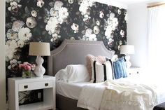 What was your everyday average bedroom, was transformed into a rich, modern space with some wow factor. Take a peek into this bold floral bedroom