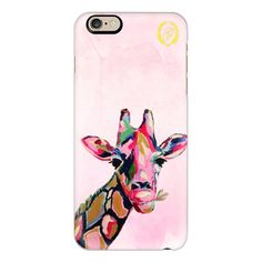 Chic Giraffe Painting | Art Illustration Preppy - iPhone 6s... ($40) ❤ liked on Polyvore featuring accessories, tech accessories, iphone case, clear iphone cases, apple iphone cases, slim iphone case, iphone cover case and iphone cases