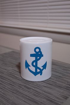 Nautical Blue Anchor Baby Bank by hhprint on Etsy, $15.00