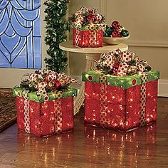 3-Piece Lighted Present Decoration Set from Seventh Avenue ®