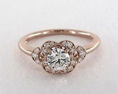 .6ct Round Vintage Inspired Engagement Ring in Rose Gold - See it in 360 HD SuperZoom!