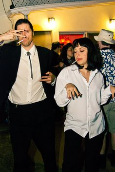 Vincent Vega and Mia Wallace from Pulp Fiction costume Last Minute Couples Costumes, Diy Couples Costumes, Girl Group Costumes, Costumes For Teens, Woman Costumes, Awesome Couple Costumes, Best 90s Costumes, Adult Costumes, Easy Movie Character Costumes