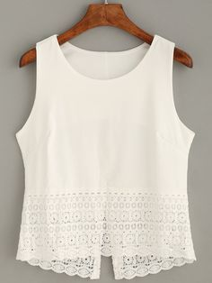 White Crochet Trim Tank Top