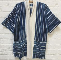One of a kind striped African indigo kimono jacket with pockets. Nautical summer vibes...