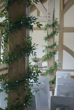 Foliage garlanding - obviously no fairy lights in yours! Church Wedding Decorations, Tent Decorations, Handmade Christmas Decorations, Flower Decorations, Greenery Garland, Flower Garlands, Marquee Wedding, Garland Wedding, Wedding Pillars