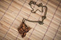 Necklace with handmade owl pendant made of olive by SilviaWithLove, €15.00