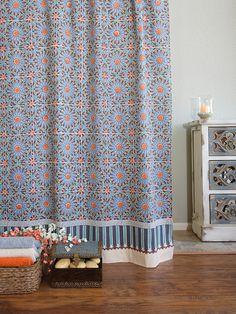 fancy plush design moorish tile curtain. Moroccan tile print shower curtain  Blue Saffron Marigold blue round tablecloth 70 90 inch