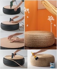 Interesting DIY Ideas to Recycle Old Tires With Rope Covered Tire Ottoman Home Projects, Home Crafts, Diy Home Decor, Diy Crafts, Recycled Crafts, Backyard Projects, Tire Ottoman, Reuse Old Tires, Reuse Recycle