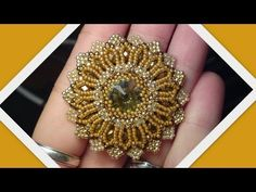 Shiny Rivoli Pendant 2 (The improved version) Beading Tutorial by HoneyBeads (Photo tutorial) - YouTube