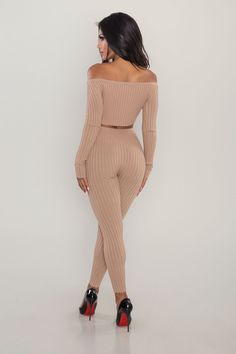Antlia Ribbed Two Piece - Mocha 1 Image, Long Sleeve Crop Top, All Fashion, Mocha, My Girl, Jumpsuit, Crop Tops, How To Wear, Outfits