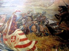 Titus Fay saves King Sigismund of Hungary in the Battle of Nicopolis. Painting in the Castle of Vaja, creation of Ferenc Lohr, Albigensian Crusade, Spread Of Islam, 11th Century, Chivalry, Napoleonic Wars, Middle Ages, Warfare, Hungary, Pagan
