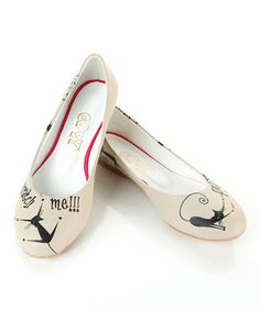 Love this White & Black Kitty Ballet Flat by Goby on #zulily! #zulilyfinds