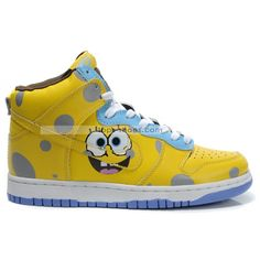 kids cartoon shoes | Cartoon nike dunks shoes for kids---spongebob high tops