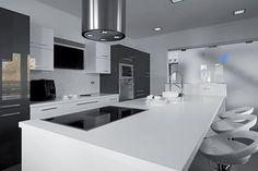 New Modern Grey Kitchen Cabinets - loekitchen Modern Grey Kitchen, Grey Kitchens, Modern Kitchen Design, Kitchen Designs, Modern Kitchen Cabinets, Kitchen Cabinet Doors, China Cabinet, Cooktops, Grey Floor Tiles
