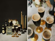 love the flutes with guiness, perfect idea for a beer loving couple