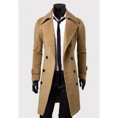 $27.25 Solid Color Turndown Collar Double-Breasted Design Long Sleeves Woolen Trench Coat For Men