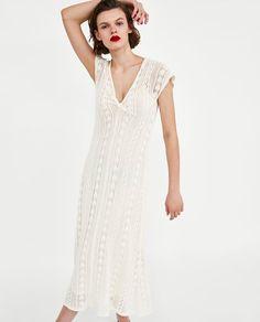 Image 2 of V-NECK CROCHET DRESS from Zara