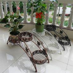 3 Tier Floor Standing Wrought Iron Pot Plant Stand Flower Planter Arch Design | eBay