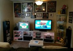 Gaming station, gaming room setup, gaming desk, video game storage, video g Game Room Kids, Game Room Bar, Game Room Basement, Game Room Decor, Room Decorations, Game Room Chairs, Game Room Furniture, Deco Gamer, Small Game Rooms