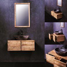 Rubberwood bathroom furniture by Zant