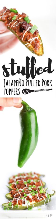 Pork Stuffed Jalapeños Peppers recipe made with just 3-Ingredients! Take your entertaining to the next level this season with BBQ pulled pork and creamy cream cheese stuffed in spicy jalapeños #99DaysofBBQ #ad