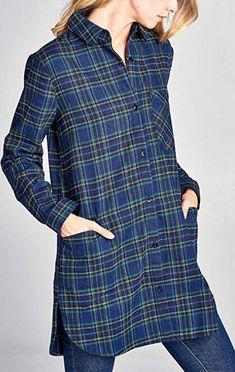 14677edbf5a Vialumi Women s Regular Casual Oversized Plaid Checker Print Tunic Tops  navy Flannel Shirts
