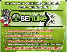 SEnuke is the software that automates all the aspects of off page SEO. It is praised as the next best thing to a money printing machine because it does what would take you a month to work through in a few hours. Pretty amazing!