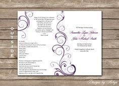 Purple Swirl Printable Wedding Program DIY by RobynDesigns Diy Wedding Programs, Printable Wedding Programs, Wedding Stationary, Our Wedding, Wedding Gifts, Dream Wedding, Wedding Ideas, Champagne Wedding Themes, Swirl Design