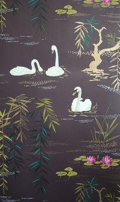 Nina Campbell's 'Swan Lake' wallpaper