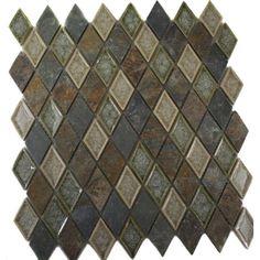 Splashback Tile Roman Selection Emperial Slate Diamond 11 in. x 11 in. x 8 mm Glass Mosaic Floor and Wall Tile, Multi
