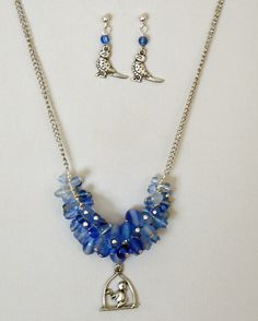 "Bluebird of Happiness Cluster Blue Necklace Set 20"" - $40"