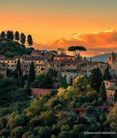 Sunset in Palaia, Tuscany.