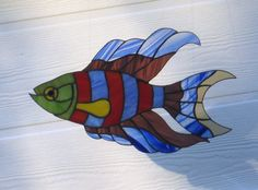 Funky Fish Stained Glass Sun Catcher by Handcraftcottage on Etsy, $45.00