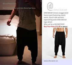 "Unisex Exaggerated Harem Pant Our famous Dincwear Harem Pants, as worn recently by "" Rough Copy"" on the ""X Factor"" and Luke Pasqualino of ""Musketeer"" fame. Luke Pasqualino, Dance Wear, Bad Boys, Elastic Waist, Harem Pants, Pants For Women, Unisex, Stuff To Buy, Harem Trousers"