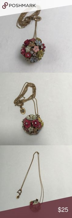 "🌺🌸Juicy Couture Necklace🌼💐 Juicy Couture Flower orb necklace. Chain is approximately 33"" Long.  Enameled flowers with rhinestones. Belt not included, separate listing. Juicy Couture Jewelry Necklaces"